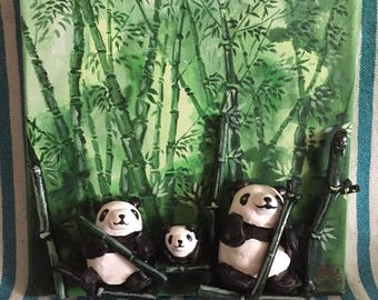 3D embossed mixed technique - panda in the bamboo grove family table