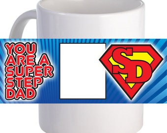 "Personalized ""Super Step Dad"" Coffee Mug With Custom Printed Image"
