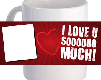 "Personalized ""Polaroid Love"" Coffee Mug Custom Printed Photo Name"