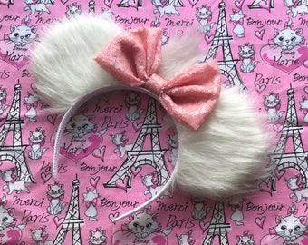Marie Aristocats Inspired Mickey Minnie Mouse Ears White Faux Fur Paris France French Head Band Headband
