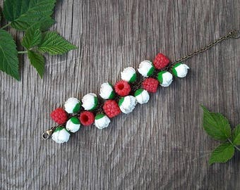 Raspberries and peonies bracelet from polymer clay,  berries bracelet, handmade jewelry, polymer clay bracelet,  flowers bracelet, gift idea