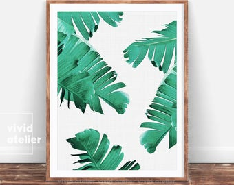 Tropical Printable Art, Tropical Leaves, Banana Leaf Art, Palm Leaf Print, Leaf Print, Palm Digital Print, Tropical Print, Tropical Wall Art
