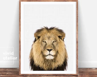 Lion Print, Printable Lion, Lion Download, Safari Nursery Art, Art Print, Safari Nursery Print, Nursery Decor, Wall Art Prints, Safari Decor