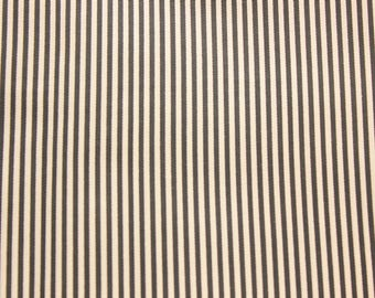 Small Striped Fabric, Stripes, Black, Stripe Fabric, Cotton Fabric, Craft Fabric, Quilting Sewing Craft Supplies, Extra Wide, Half Metre
