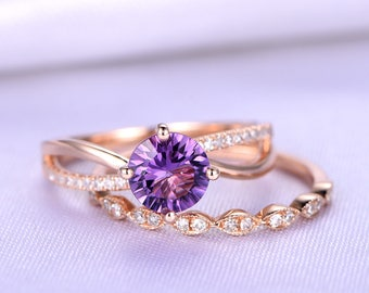 Bridal Ring Set,6.5mm Round Cut Amethyst Engagement Ring,Milgrain Style Diamond Wedding Band,14k Rose Gold,Diamond Ring Set,Promise Ring Set