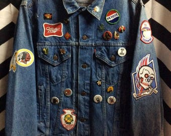 Denim Bd Jacket Customized Pins/ Pathces 4 Pockets