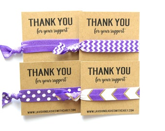 Business Personalized Hair Tie Favor | Business Favor | Thank You Favor | Business Cards | Purple | Chevron | Polka Dots