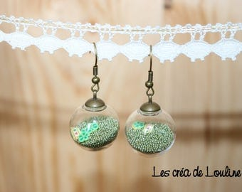 Green microbeads globe earrings