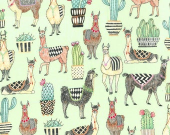 Michael Miller - Lovely Llamas - CX7297-MINT - D - 100% cotton fabric - Fabric by the yard