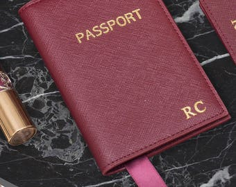 Saffiano Leather Passport Holder Monogram