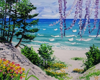 Knife oil painting, beach painting canvas, scenery painting by Ryan Kimba