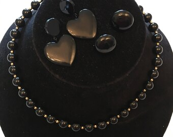 1980's Black and Gold Bead Necklace and Coordinating Earrings - Necklace and Earrings - Black Button Earrings