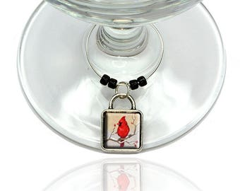 Cardinal In Winter Wine Glass Drink Marker Charm Ring