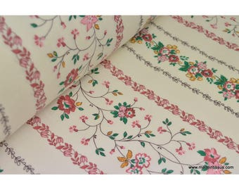 Cotton fabric liberty stripes of fuchsia flowers