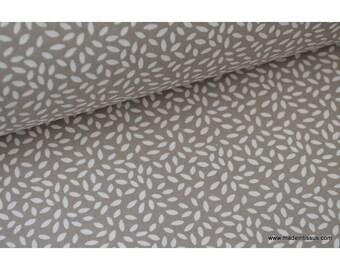 Tissu coton imprimé dessin grains de blé taupe x50cm