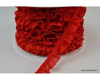 Elastic ruffle red 16mm