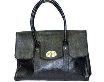Premium Large Black Leather Shoulder Bag | Exclusive Limited Edition