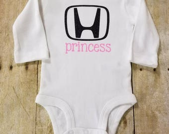 Honda Princess Bodysuit, Baby Girl Honda Outfit, Glitter Princess, Baby Gift, Glitter Honda Princess, Black Glitter, Pink Glitter