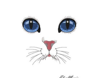 Machine Embroidery Design -White cat, embroidery cat  5*7, 6*8, 8*10