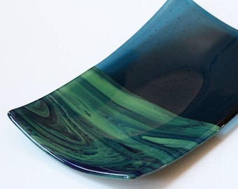 "Rectangle Fused Glass Serving Plate, ""Northern Lights"" Collection"