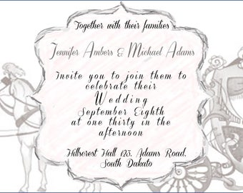 Wedding Carraige Invitation template