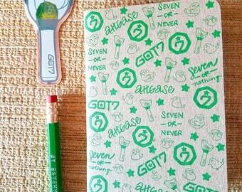 GOT7 Ahgase Stationary Set Kraft Pocket Notebook Hex Pencil Mirror Sticker Ahgabong KPOP Gift School Supplies Fanmade