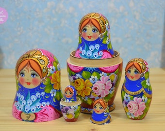 Handmade matryoshka, Gift for girl, Russian folk art, Wooden hand painted nesting dolls with bunch of lily of the valley, Birthday gift