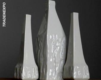 3xVintage 1955 SGRAFO MODERN Porcelain Peter Müller Vases Set German Fat Lava Era