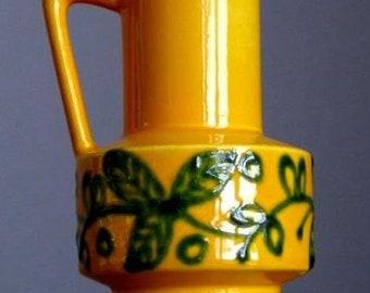 Vintage 60-70's SCHLOSSBERG KERAMIK 282 Yellow Vase Pitcher German Fat Lava Era