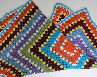 handmade granny square lap blanket, crochet lap afghan,baby blanket, couch throw, multicolored blanket
