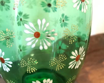 Vintage Green Glass Decanter or Vase with Hand Painted White Flowers