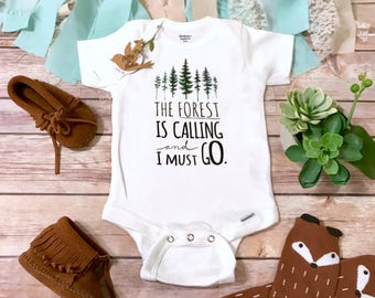 The Forest Is Calling Onesie®, Hipster Baby Clothes, Baby Boy Clothes, Boho Baby Clothes, Baby Shower Gift, Adventure Onesie, Mountains Baby