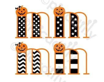Pumpkin SVG PNG Halloween Monogram Svg Cut File Initial M Girl Halloween Monogram M SVG Boy Pumpkin Svg Halloween Digital Clip Art Letter M