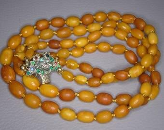Antique 2 Stranded Egg Yolk Butterscotch Baltic Amber Necklace - Olive Shaped Amber