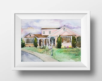 Wall Art Watercolor Edie Britt House Print,Desperate Housewives,Wisteria Lane,Fairview,Tv Show Poster,Sitcom,Printable,Floor Plan,Tv Series