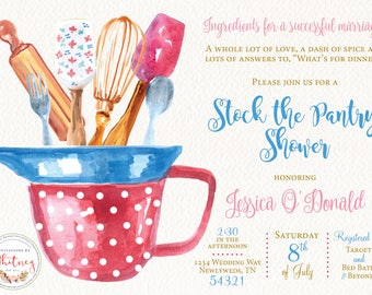 Stock the Pantry Wedding Shower Digital Printable Invitation Design
