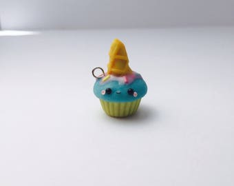Polymer Clay Kawaii Cotton Candy Ice Cream Cupcake Charm
