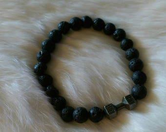 """Black lava bead """"lift"""" bracelet"""