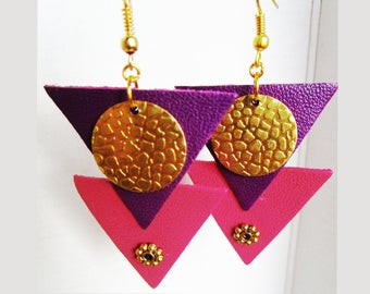 Earrings leather triangles fuchsia and purple