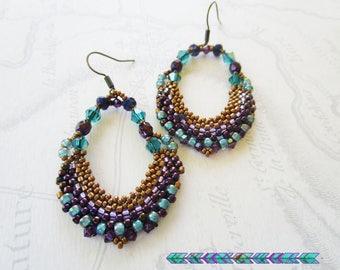 Woven hoop earrings, seed beads and Crystal, copper, purple, lagoon