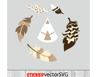 Sticker   wall design   feather   Indian   nursery  home decor  vector  SVG file   Monogram   Cut Files   instant download   Digital Files
