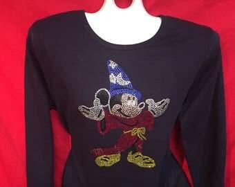 Disney World Mickey Sorceror Full Body Rhinestone crystal women's shirt Bling. SHORT LONG Sleeve Misses S, M, L, XL, Plus size 1x, 2X, 3X