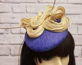 Royal Blue and Beige Silk Abaca Button Fascinator