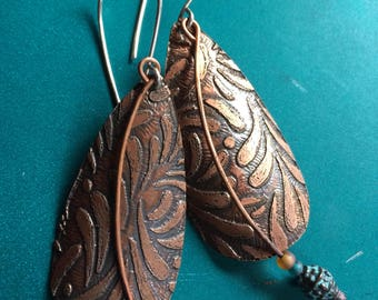 Etched Copper Dangle Earrings with Beaded Accent