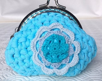 Blue crochet purse strap with flower