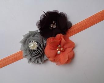 Orange, Brown & Gray Headband, Thanksgiving Headband, Baby Headband, Girl/Adult Headband, Pumpkin Patch