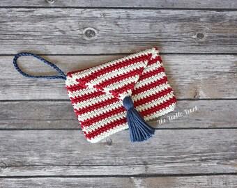 Crochet Wristlet, Crochet Clutch, Crochet Purse, Red White and Blue Purse, Fourth of July Clutch