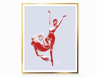 Gray & Red Printable Art Abstract Poster Ballet Print Dancing Wall Art Red dress Print Ballerina Toe Poster Dancing Decor INSTANT DOWNLOAD