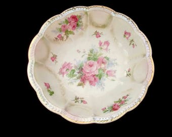 Empire China Scalloped Edge Large Serving Bowl Pink Roses Shabby Chic