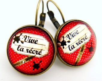 Earrings cabochon Vive playtime!